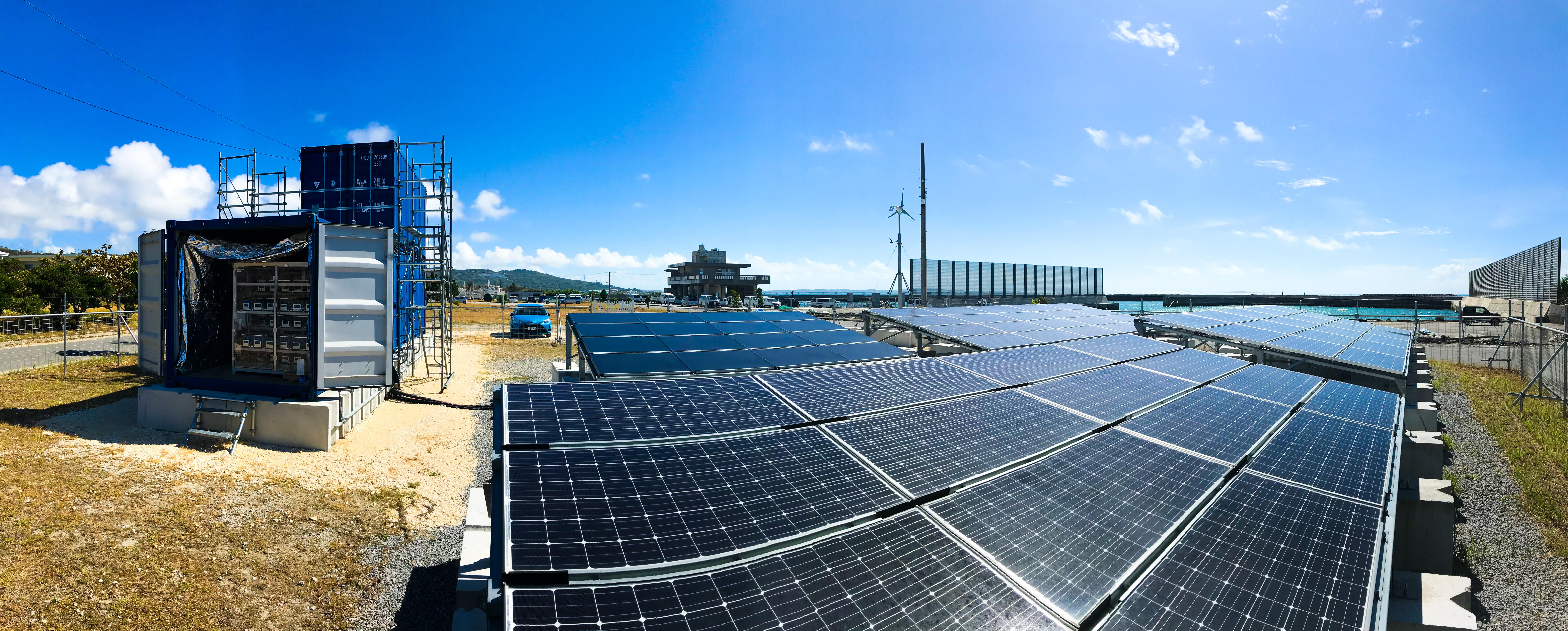 中城村養殖技術研究センター敷地内の再生可能エネルギー研究施設